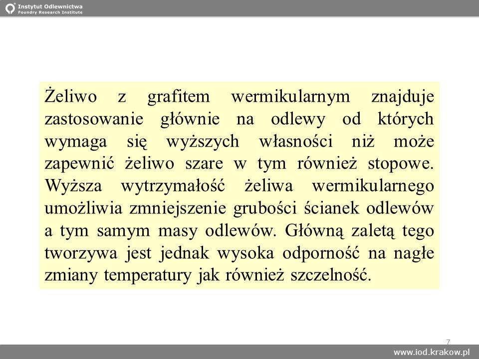 www.iod.krakow.pl 7 Żeliwo z grafitem wermikularnym znajduje zastosowanie głównie na odlewy od których wymaga się wyższych własności niż może zapewnić