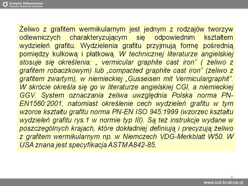 www.iod.krakow.pl 8 Żeliwo z grafitem wermikularnym jest jednym z rodzajów tworzyw odlewniczych charakteryzującym się odpowiednim kształtem wydzieleń
