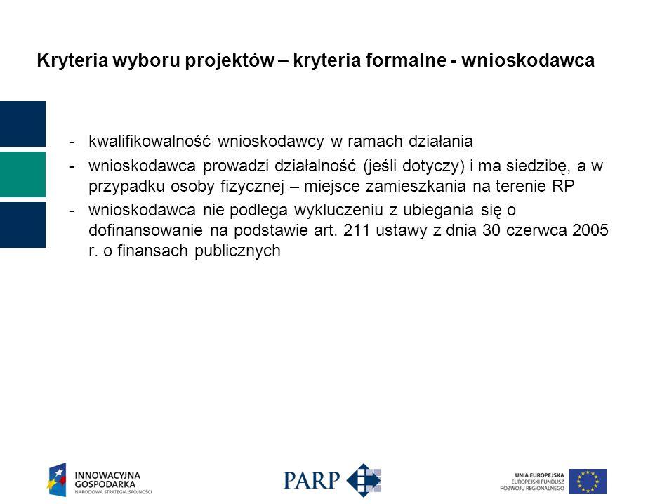 Kryteria wyboru projektów – kryteria formalne - wnioskodawca - kwalifikowalność wnioskodawcy w ramach działania - wnioskodawca prowadzi działalność (j