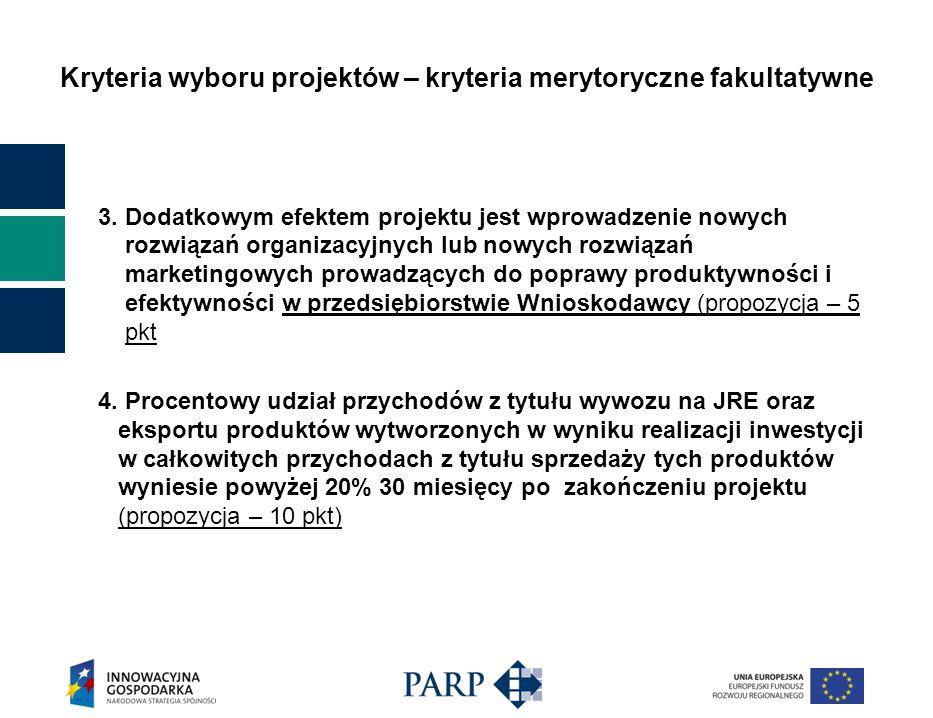 Kryteria wyboru projektów – kryteria merytoryczne fakultatywne 3. Dodatkowym efektem projektu jest wprowadzenie nowych rozwiązań organizacyjnych lub n