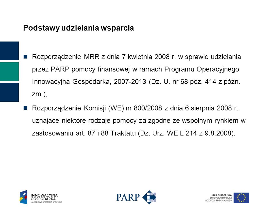 Podstawy udzielania wsparcia Rozporządzenie MRR z dnia 7 kwietnia 2008 r. w sprawie udzielania przez PARP pomocy finansowej w ramach Programu Operacyj