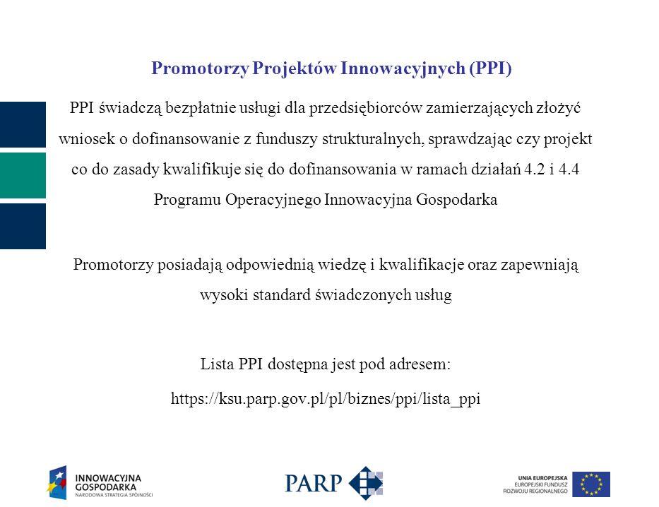 Promotorzy Projektów Innowacyjnych (PPI) PPI świadczą bezpłatnie usługi dla przedsiębiorców zamierzających złożyć wniosek o dofinansowanie z funduszy strukturalnych, sprawdzając czy projekt co do zasady kwalifikuje się do dofinansowania w ramach działań 4.2 i 4.4 Programu Operacyjnego Innowacyjna Gospodarka Promotorzy posiadają odpowiednią wiedzę i kwalifikacje oraz zapewniają wysoki standard świadczonych usług Lista PPI dostępna jest pod adresem: https://ksu.parp.gov.pl/pl/biznes/ppi/lista_ppi