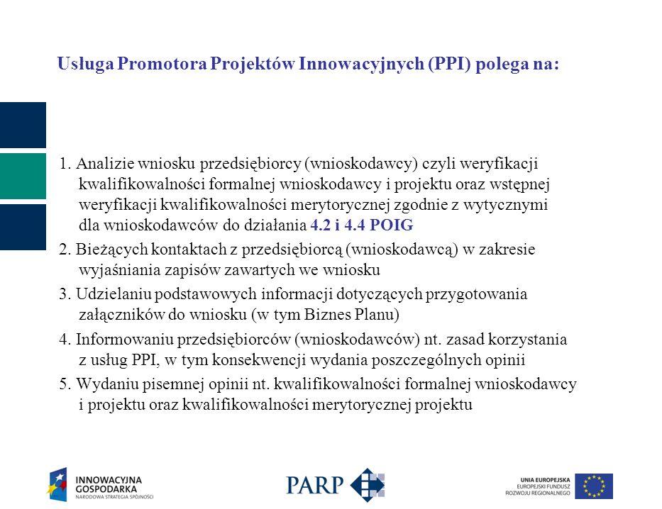 Usługa Promotora Projektów Innowacyjnych (PPI) polega na: 1. Analizie wniosku przedsiębiorcy (wnioskodawcy) czyli weryfikacji kwalifikowalności formal