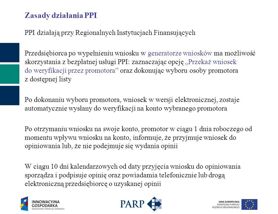Zasady działania PPI PPI działają przy Regionalnych Instytucjach Finansujących Przedsiębiorca po wypełnieniu wniosku w generatorze wniosków ma możliwość skorzystania z bezpłatnej usługi PPI: zaznaczając opcję Przekaż wniosek do weryfikacji przez promotora oraz dokonując wyboru osoby promotora z dostępnej listy Po dokonaniu wyboru promotora, wniosek w wersji elektronicznej, zostaje automatycznie wysłany do weryfikacji na konto wybranego promotora Po otrzymaniu wniosku na swoje konto, promotor w ciągu 1 dnia roboczego od momentu wpływu wniosku na konto, informuje, że przyjmuje wniosek do opiniowania lub, że nie podejmuje się wydania opinii W ciągu 10 dni kalendarzowych od daty przyjęcia wniosku do opiniowania sporządza i podpisuje opinię oraz powiadamia telefonicznie lub drogą elektroniczną przedsiębiorcę o uzyskanej opinii