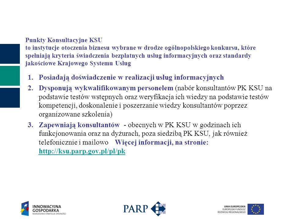 Punkty Konsultacyjne KSU to instytucje otoczenia biznesu wybrane w drodze ogólnopolskiego konkursu, które spełniają kryteria świadczenia bezpłatnych usług informacyjnych oraz standardy jakościowe Krajowego Systemu Usług 1.Posiadają doświadczenie w realizacji usług informacyjnych 2.Dysponują wykwalifikowanym personelem (nabór konsultantów PK KSU na podstawie testów wstępnych oraz weryfikacja ich wiedzy na podstawie testów kompetencji, doskonalenie i poszerzanie wiedzy konsultantów poprzez organizowane szkolenia) 3.Zapewniają konsultantów - obecnych w PK KSU w godzinach ich funkcjonowania oraz na dyżurach, poza siedzibą PK KSU, jak również telefonicznie i mailowoWięcej informacji, na stronie: http://ksu.parp.gov.pl/pl/pk http://ksu.parp.gov.pl/pl/pk