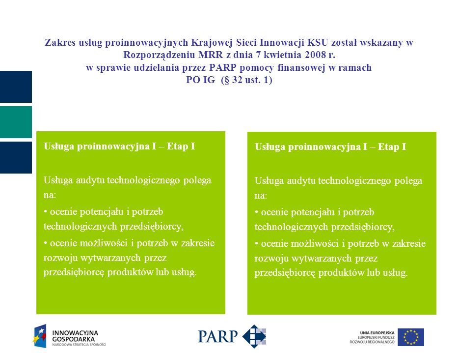 Zakres usług proinnowacyjnych Krajowej Sieci Innowacji KSU został wskazany w Rozporządzeniu MRR z dnia 7 kwietnia 2008 r. w sprawie udzielania przez P