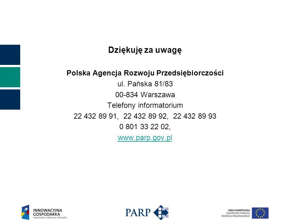 Dziękuję za uwagę Polska Agencja Rozwoju Przedsiębiorczości ul. Pańska 81/83 00-834 Warszawa Telefony informatorium 22 432 89 91, 22 432 89 92, 22 432