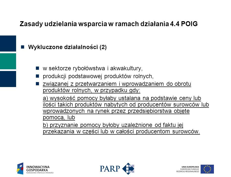 Zasady udzielania wsparcia w ramach działania 4.4 POIG Wykluczone działalności (2) w sektorze rybołówstwa i akwakultury, produkcji podstawowej produkt