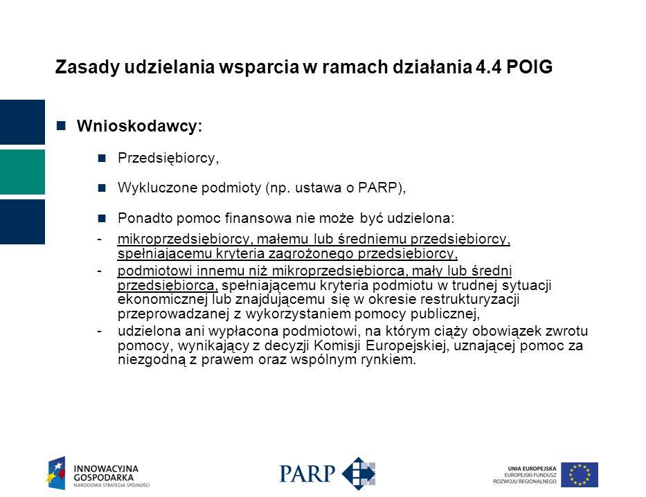 Zasady udzielania wsparcia w ramach działania 4.4 POIG Wnioskodawcy: Przedsiębiorcy, Wykluczone podmioty (np. ustawa o PARP), Ponadto pomoc finansowa