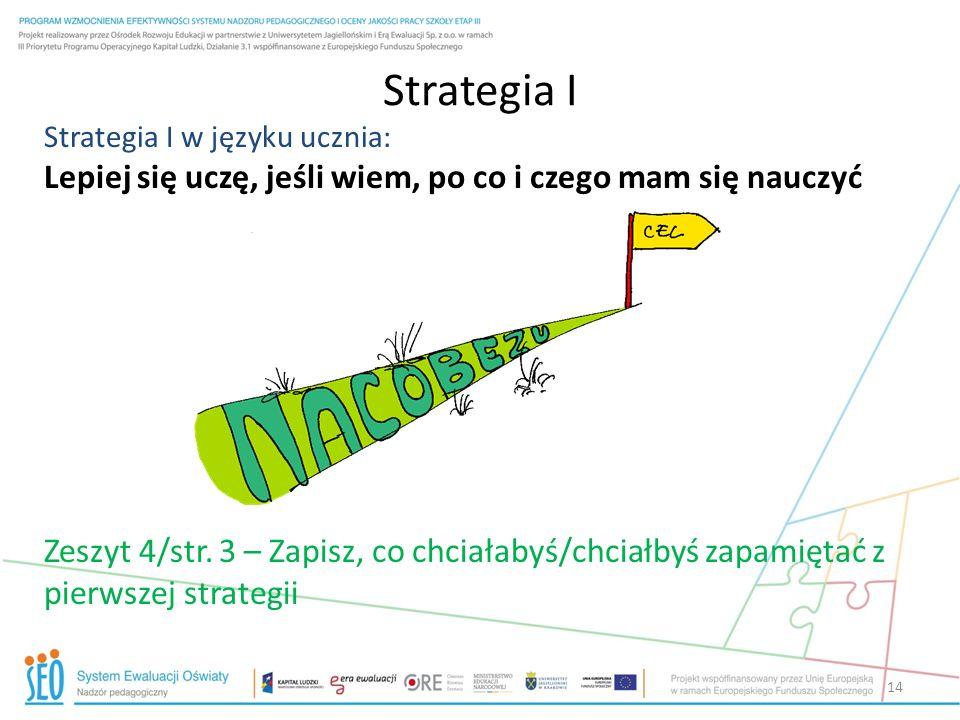 Strategia I Strategia I w języku ucznia: Lepiej się uczę, jeśli wiem, po co i czego mam się nauczyć Zeszyt 4/str. 3 – Zapisz, co chciałabyś/chciałbyś