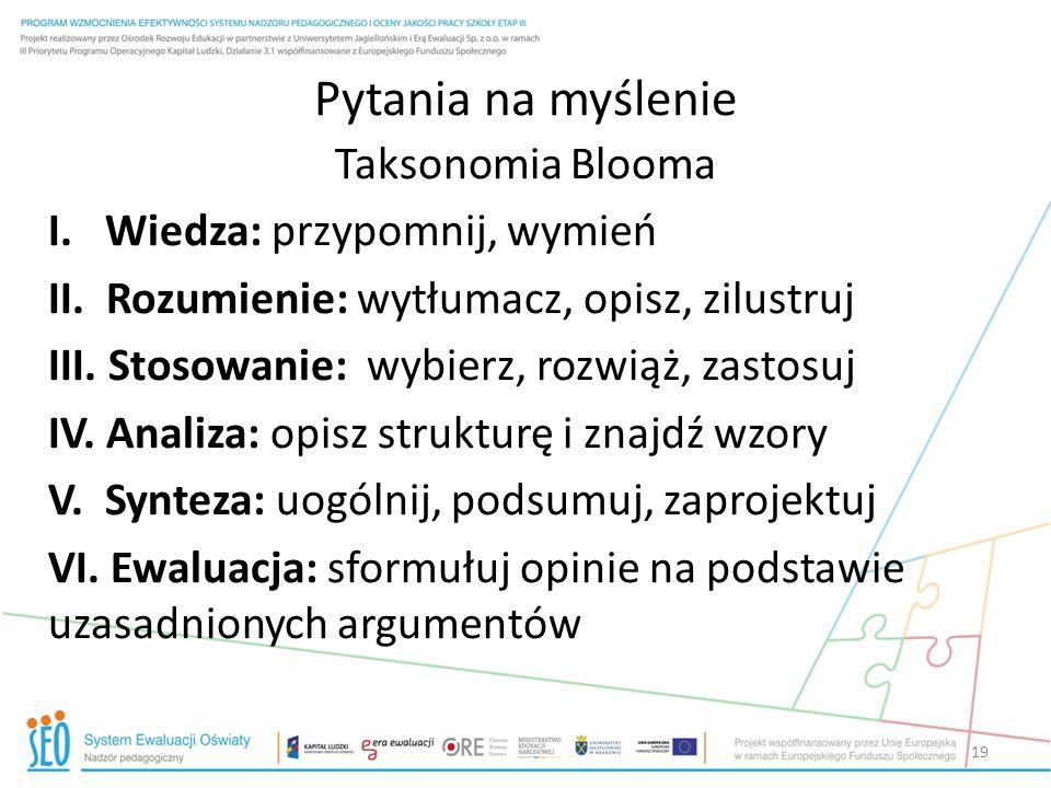 Pytania na myślenie Taksonomia Blooma I. Wiedza: przypomnij, wymień II. Rozumienie: wytłumacz, opisz, zilustruj III. Stosowanie: wybierz, rozwiąż, zas