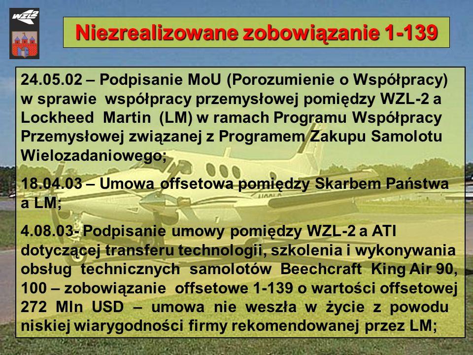 24.05.02 – Podpisanie MoU (Porozumienie o Współpracy) w sprawie współpracy przemysłowej pomiędzy WZL-2 a Lockheed Martin (LM) w ramach Programu Współp