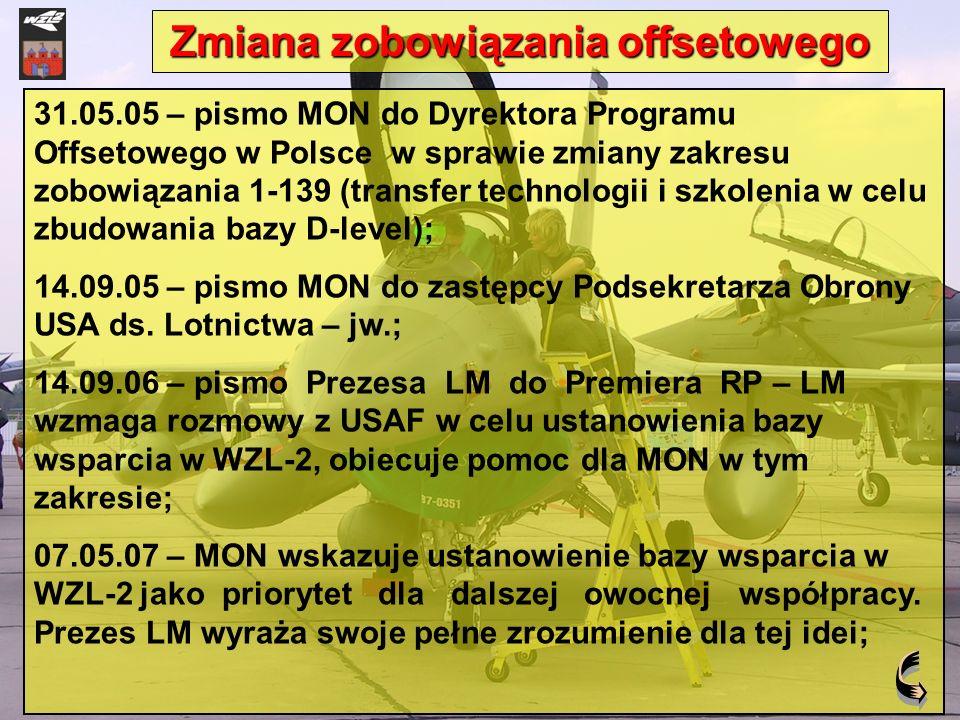 31.05.05 – pismo MON do Dyrektora Programu Offsetowego w Polsce w sprawie zmiany zakresu zobowiązania 1-139 (transfer technologii i szkolenia w celu z