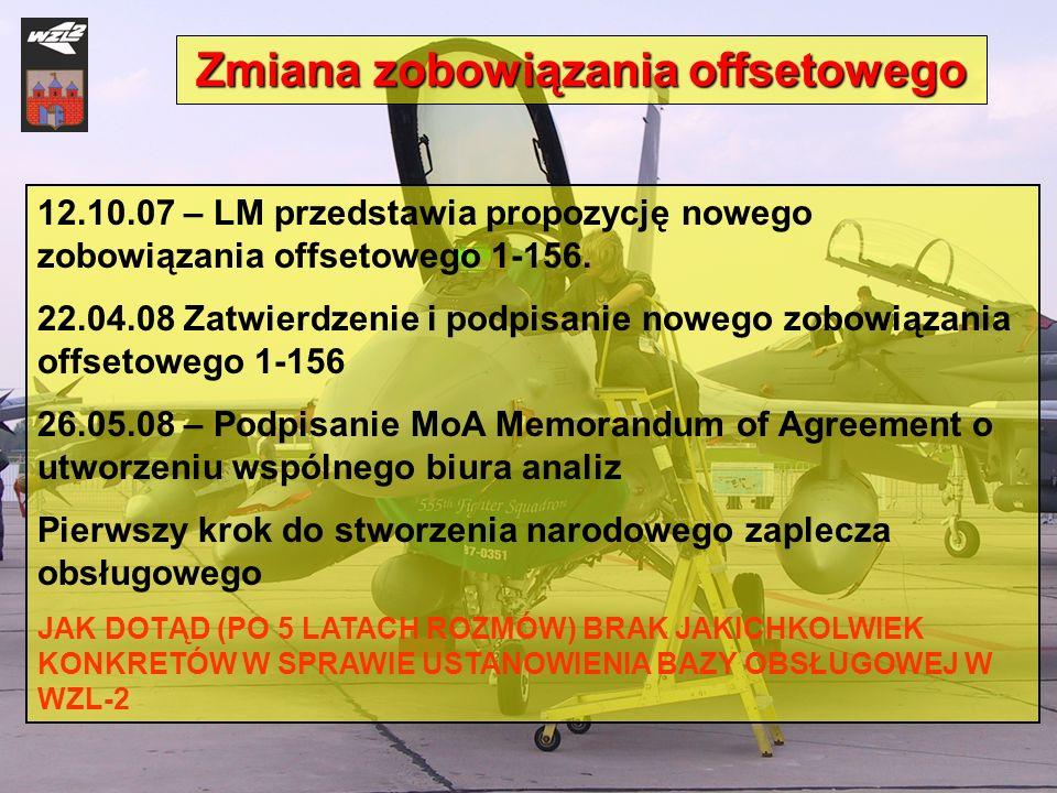 12.10.07 – LM przedstawia propozycję nowego zobowiązania offsetowego 1-156. 22.04.08 Zatwierdzenie i podpisanie nowego zobowiązania offsetowego 1-156