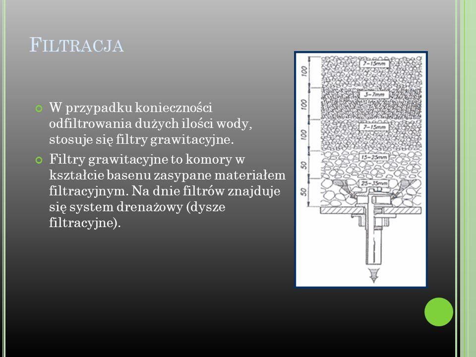 F ILTRACJA W przypadku konieczności odfiltrowania dużych ilości wody, stosuje się filtry grawitacyjne. Filtry grawitacyjne to komory w kształcie basen