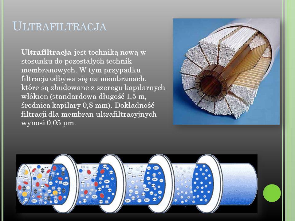 U LTRAFILTRACJA Ultrafiltracja jest techniką nową w stosunku do pozostałych technik membranowych. W tym przypadku filtracja odbywa się na membranach,