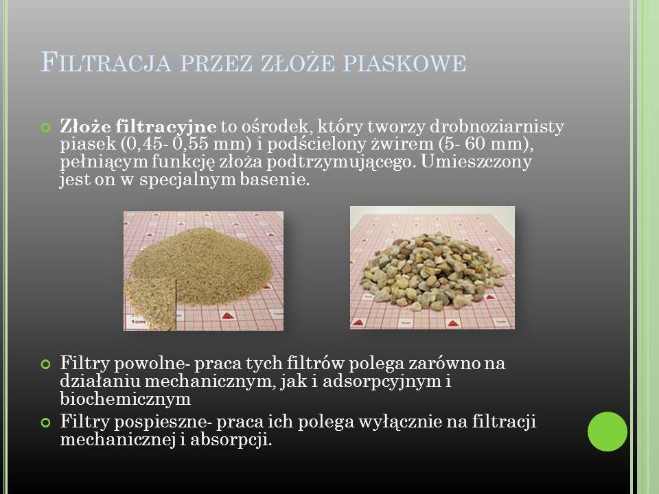 F ILTRACJA PRZEZ ZŁOŻE PIASKOWE Złoże filtracyjne to ośrodek, który tworzy drobnoziarnisty piasek (0,45- 0,55 mm) i podścielony żwirem (5- 60 mm), peł