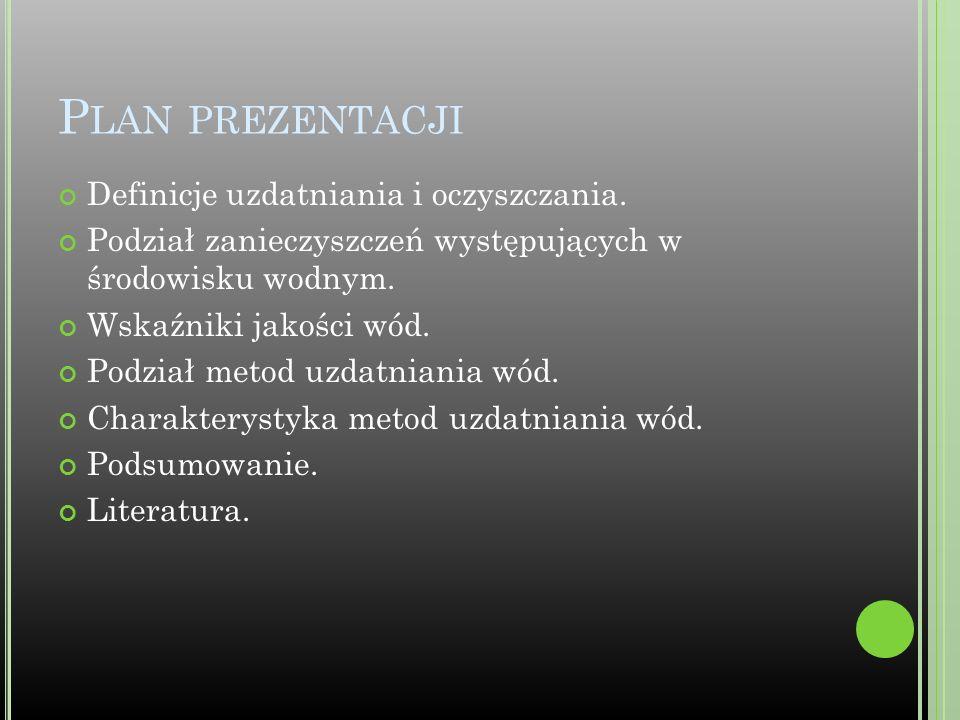 L ITERATURA Chełmicki W.Woda, zasoby, degradacja, ochrona, Wydawnictwo Naukowe PWN, Warszawa 2001.