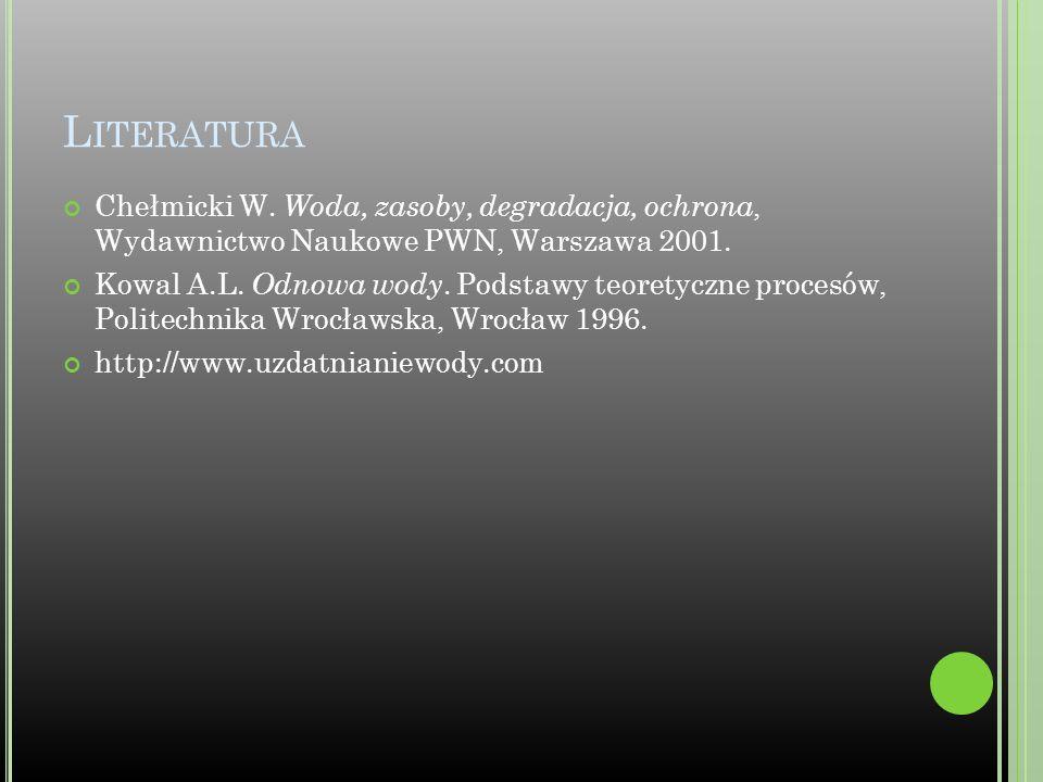 L ITERATURA Chełmicki W. Woda, zasoby, degradacja, ochrona, Wydawnictwo Naukowe PWN, Warszawa 2001. Kowal A.L. Odnowa wody. Podstawy teoretyczne proce
