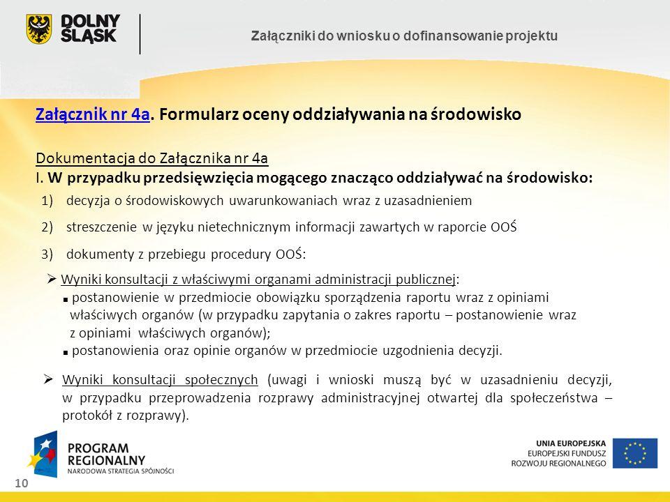 10 Załączniki do wniosku o dofinansowanie projektu Załącznik nr 4a. Formularz oceny oddziaływania na środowisko Dokumentacja do Załącznika nr 4a I. W