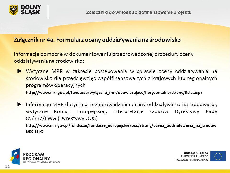 12 Załączniki do wniosku o dofinansowanie projektu Załącznik nr 4a. Formularz oceny oddziaływania na środowisko Informacje pomocne w dokumentowaniu pr
