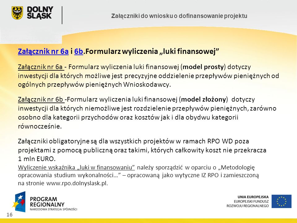 16 Załączniki do wniosku o dofinansowanie projektu Załącznik nr 6aZałącznik nr 6a i 6b.Formularz wyliczenia luki finansowej Załącznik nr 6a - Formular