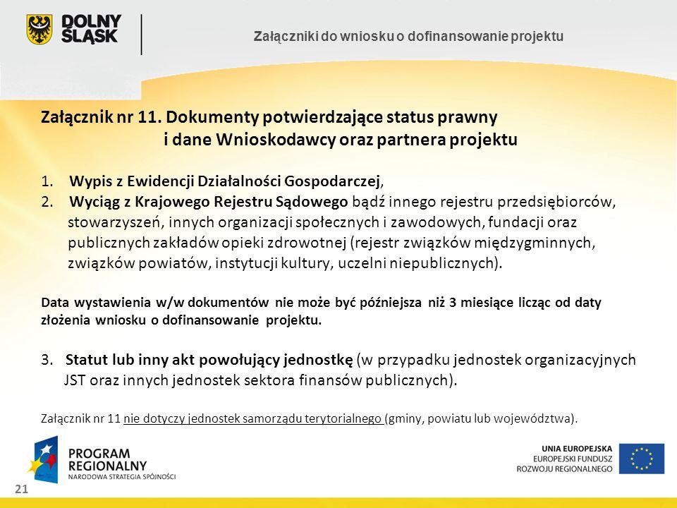 21 Załączniki do wniosku o dofinansowanie projektu Załącznik nr 11. Dokumenty potwierdzające status prawny i dane Wnioskodawcy oraz partnera projektu