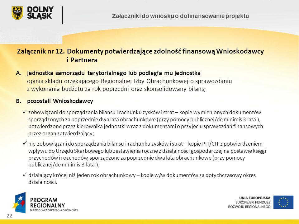 22 Załączniki do wniosku o dofinansowanie projektu Załącznik nr 12. Dokumenty potwierdzające zdolność finansową Wnioskodawcy i Partnera A.jednostka sa