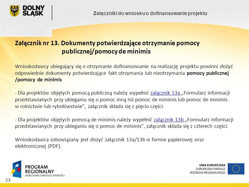 23 Załączniki do wniosku o dofinansowanie projektu Załącznik nr 13. Dokumenty potwierdzające otrzymanie pomocy publicznej/pomocy de minimis Wnioskodaw