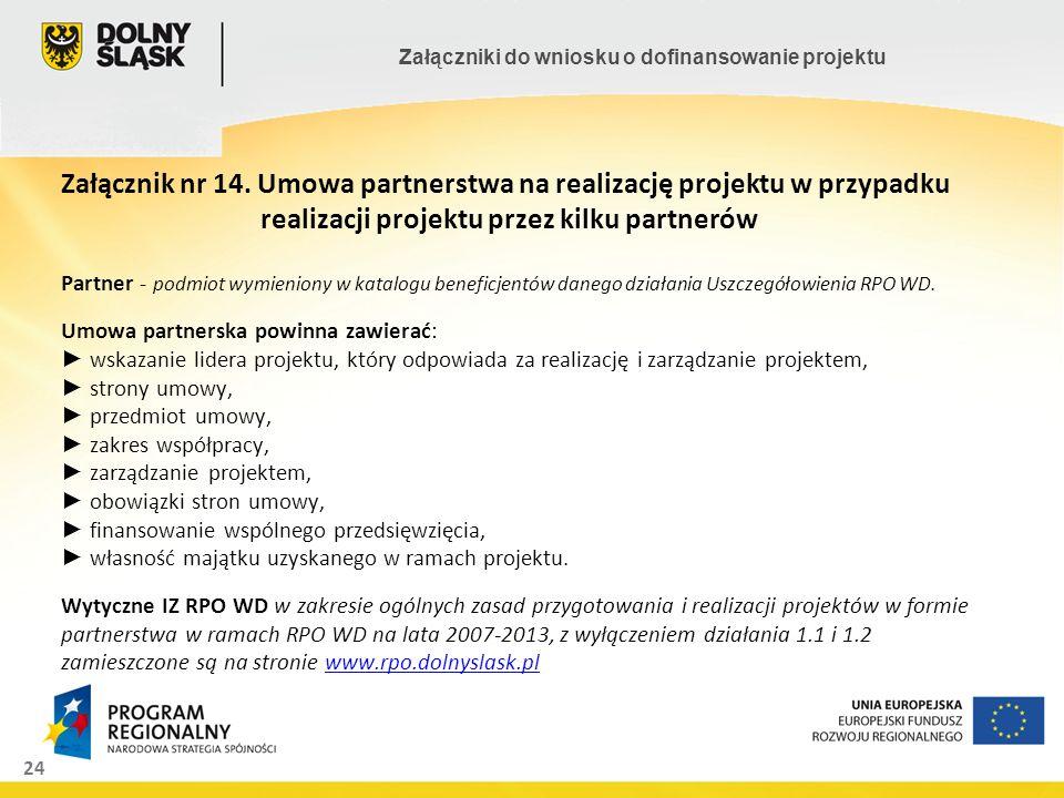 24 Załączniki do wniosku o dofinansowanie projektu Załącznik nr 14. Umowa partnerstwa na realizację projektu w przypadku realizacji projektu przez kil