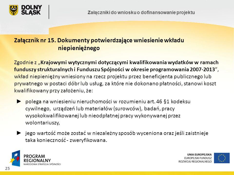 25 Załączniki do wniosku o dofinansowanie projektu Załącznik nr 15. Dokumenty potwierdzające wniesienie wkładu niepieniężnego Zgodnie z Krajowymi wyty