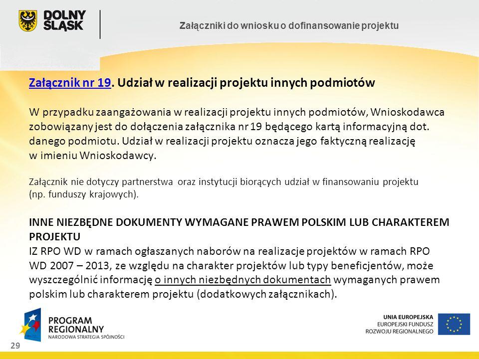 29 Załączniki do wniosku o dofinansowanie projektu Załącznik nr 19Załącznik nr 19. Udział w realizacji projektu innych podmiotów W przypadku zaangażow
