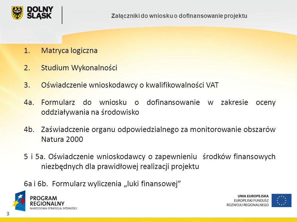 3 Załączniki do wniosku o dofinansowanie projektu 1.Matryca logiczna 2.Studium Wykonalności 3.Oświadczenie wnioskodawcy o kwalifikowalności VAT 4a.For