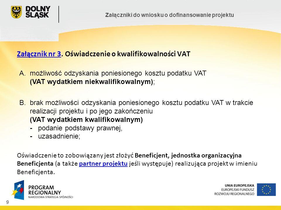 9 Załączniki do wniosku o dofinansowanie projektu Załącznik nr 3Załącznik nr 3. Oświadczenie o kwalifikowalności VAT Oświadczenie to zobowiązany jest