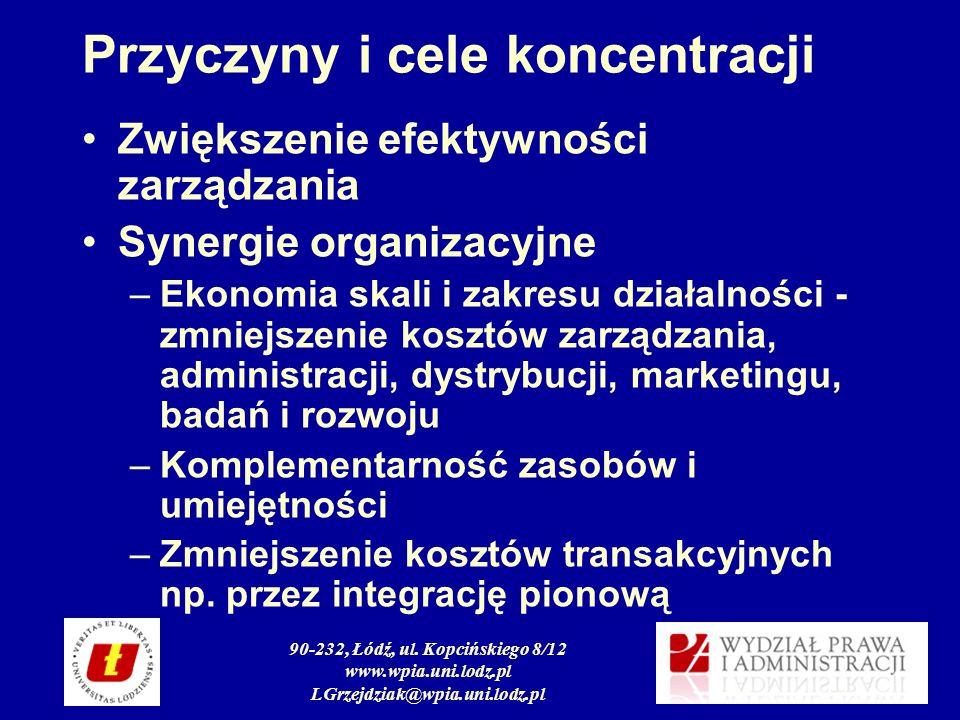 90-232, Łódź, ul. Kopcińskiego 8/12 www.wpia.uni.lodz.pl LGrzejdziak@wpia.uni.lodz.pl Przyczyny i cele koncentracji Zwiększenie efektywności zarządzan