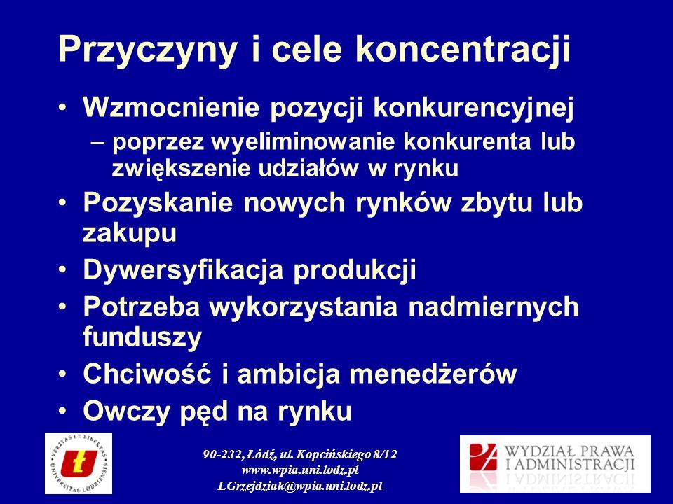 90-232, Łódź, ul. Kopcińskiego 8/12 www.wpia.uni.lodz.pl LGrzejdziak@wpia.uni.lodz.pl Przyczyny i cele koncentracji Wzmocnienie pozycji konkurencyjnej
