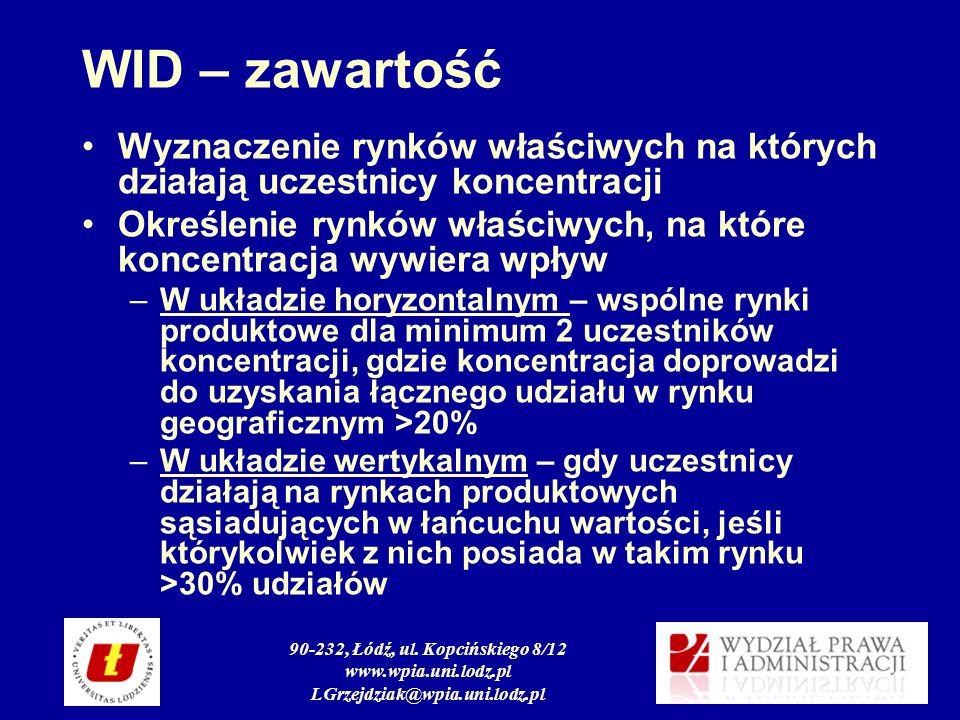 90-232, Łódź, ul. Kopcińskiego 8/12 www.wpia.uni.lodz.pl LGrzejdziak@wpia.uni.lodz.pl WID – zawartość Wyznaczenie rynków właściwych na których działaj