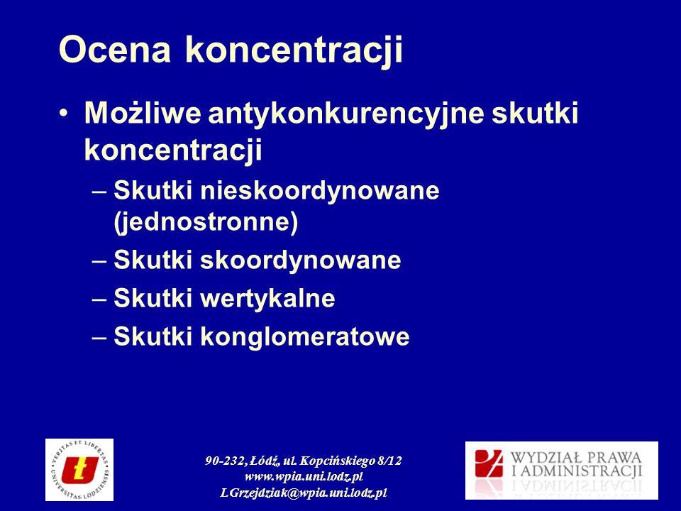90-232, Łódź, ul. Kopcińskiego 8/12 www.wpia.uni.lodz.pl LGrzejdziak@wpia.uni.lodz.pl Ocena koncentracji Możliwe antykonkurencyjne skutki koncentracji