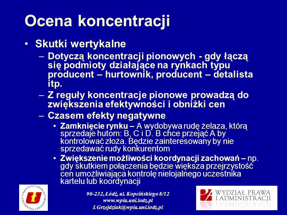 90-232, Łódź, ul. Kopcińskiego 8/12 www.wpia.uni.lodz.pl LGrzejdziak@wpia.uni.lodz.pl Ocena koncentracji Skutki wertykalne –Dotyczą koncentracji piono
