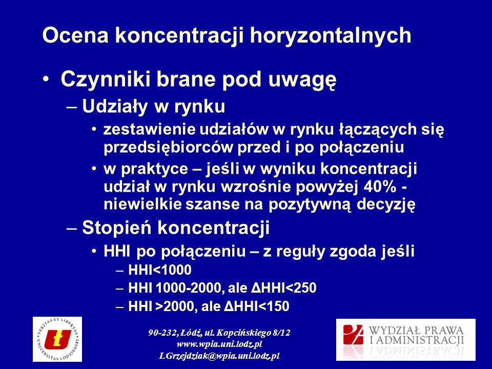 90-232, Łódź, ul. Kopcińskiego 8/12 www.wpia.uni.lodz.pl LGrzejdziak@wpia.uni.lodz.pl Ocena koncentracji horyzontalnych Czynniki brane pod uwagę –Udzi
