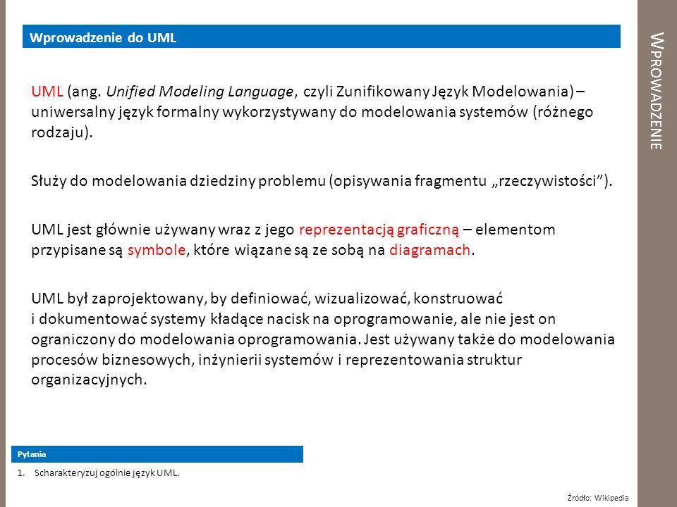 W PROWADZENIE Wprowadzenie do UML UML (ang. Unified Modeling Language, czyli Zunifikowany Język Modelowania) – uniwersalny język formalny wykorzystywa