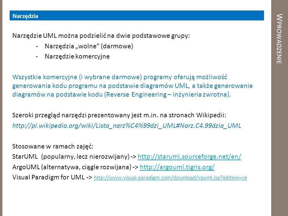 W PROWADZENIE Narzędzia Narzędzie UML można podzielić na dwie podstawowe grupy: -Narzędzia wolne (darmowe) -Narzędzie komercyjne Wszystkie komercyjne