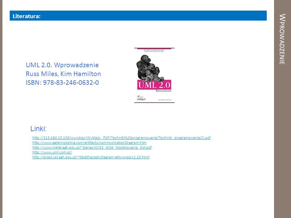 W PROWADZENIE Literatura: UML 2.0. Wprowadzenie Russ Miles, Kim Hamilton ISBN: 978-83-246-0632-0 Linki: http://213.184.15.139/wwwkipr/Wyklady_PDF/Tech
