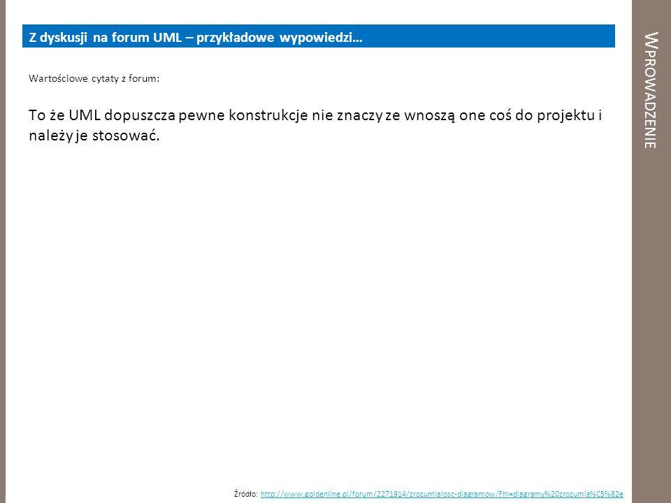 W PROWADZENIE Z dyskusji na forum UML – przykładowe wypowiedzi… Wartościowe cytaty z forum: To że UML dopuszcza pewne konstrukcje nie znaczy ze wnoszą