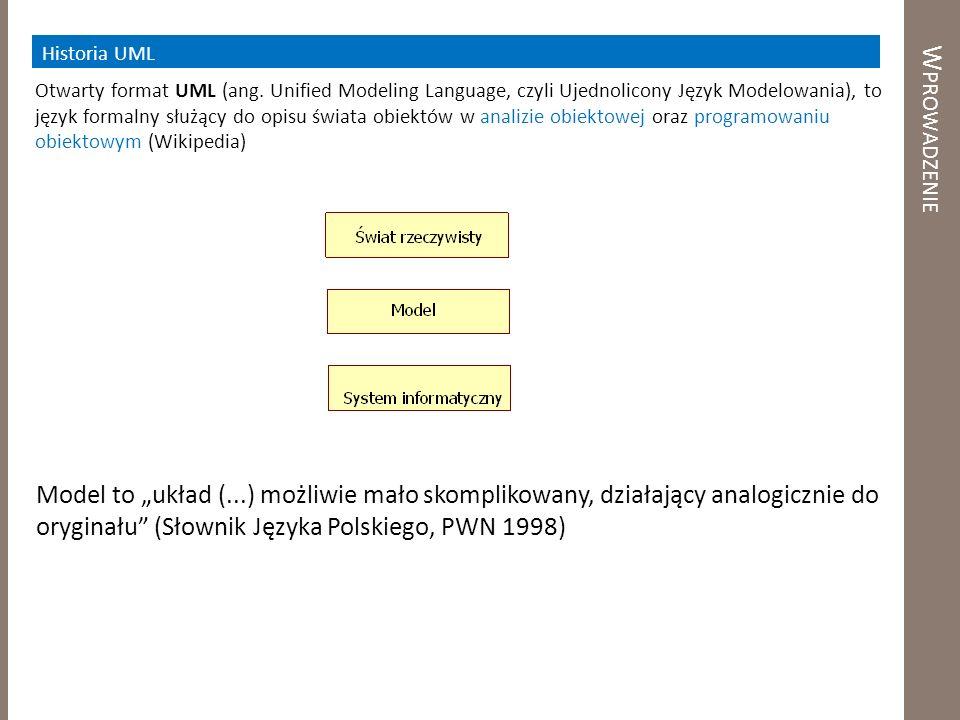 W PROWADZENIE Otwarty format UML (ang. Unified Modeling Language, czyli Ujednolicony Język Modelowania), to język formalny służący do opisu świata obi