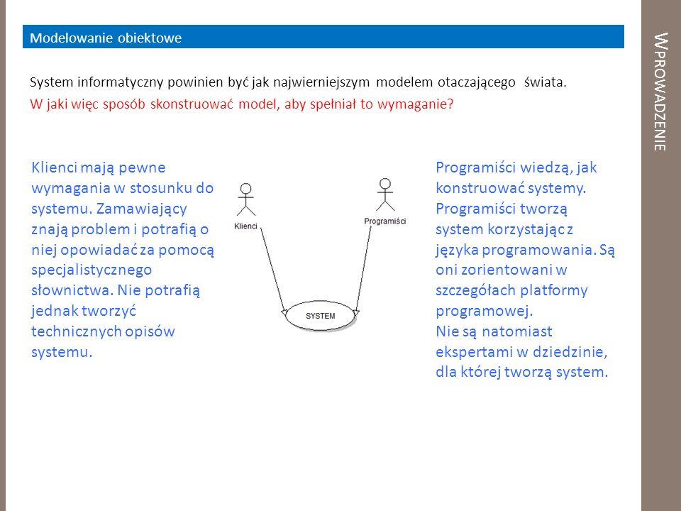 W PROWADZENIE Modelowanie obiektowe System informatyczny powinien być jak najwierniejszym modelem otaczającego świata. W jaki więc sposób skonstruować