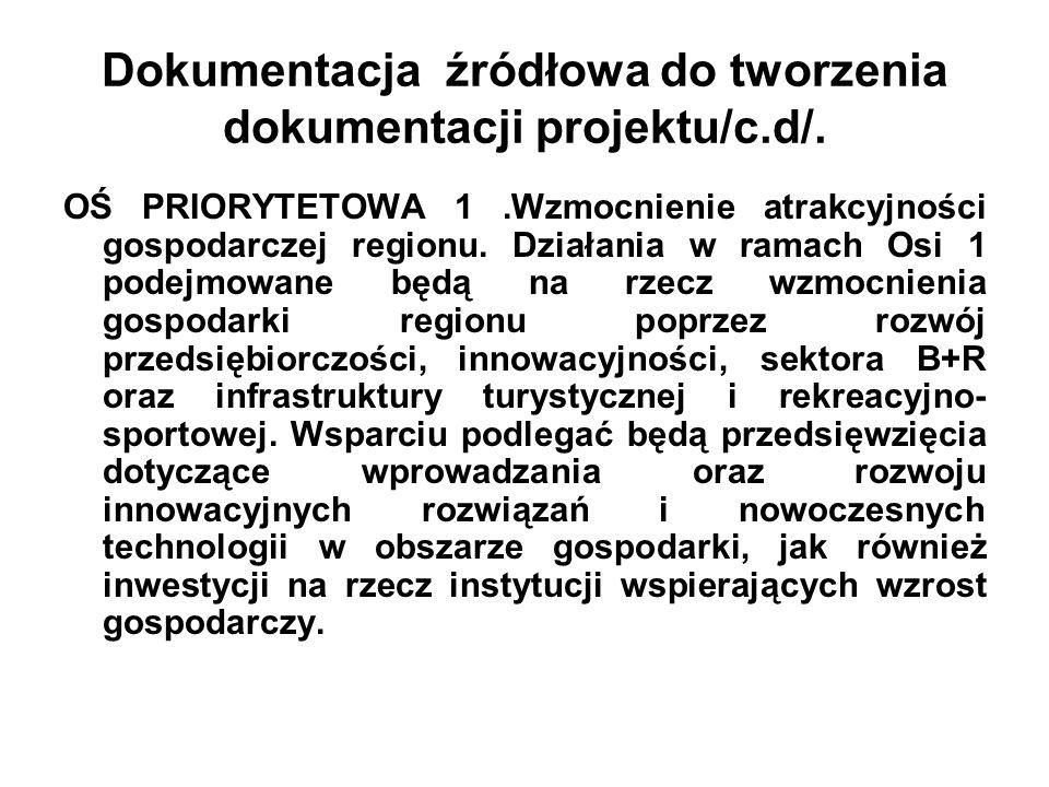 Dokumentacja źródłowa do tworzenia dokumentacji projektu/c.d/. OŚ PRIORYTETOWA 1.Wzmocnienie atrakcyjności gospodarczej regionu. Działania w ramach Os