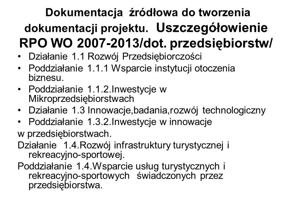 Dokumentacja źródłowa do tworzenia dokumentacji projektu. Uszczegółowienie RPO WO 2007-2013/dot. przedsiębiorstw/ Działanie 1.1 Rozwój Przedsiębiorczo
