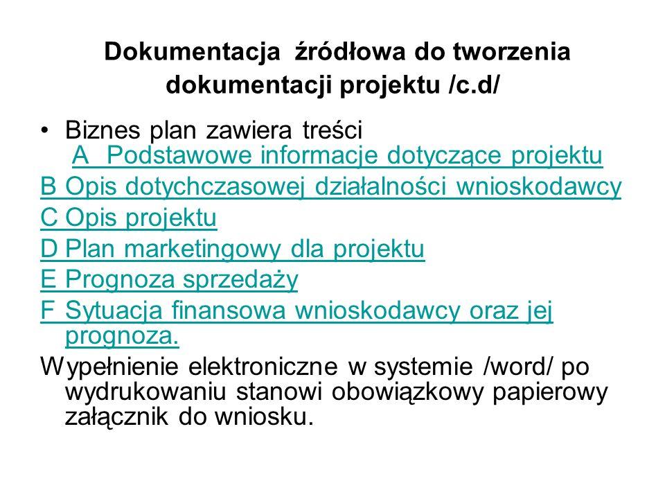 Dokumentacja źródłowa do tworzenia dokumentacji projektu /c.d/ Biznes plan zawiera treści APodstawowe informacje dotyczące projektuAPodstawowe informa