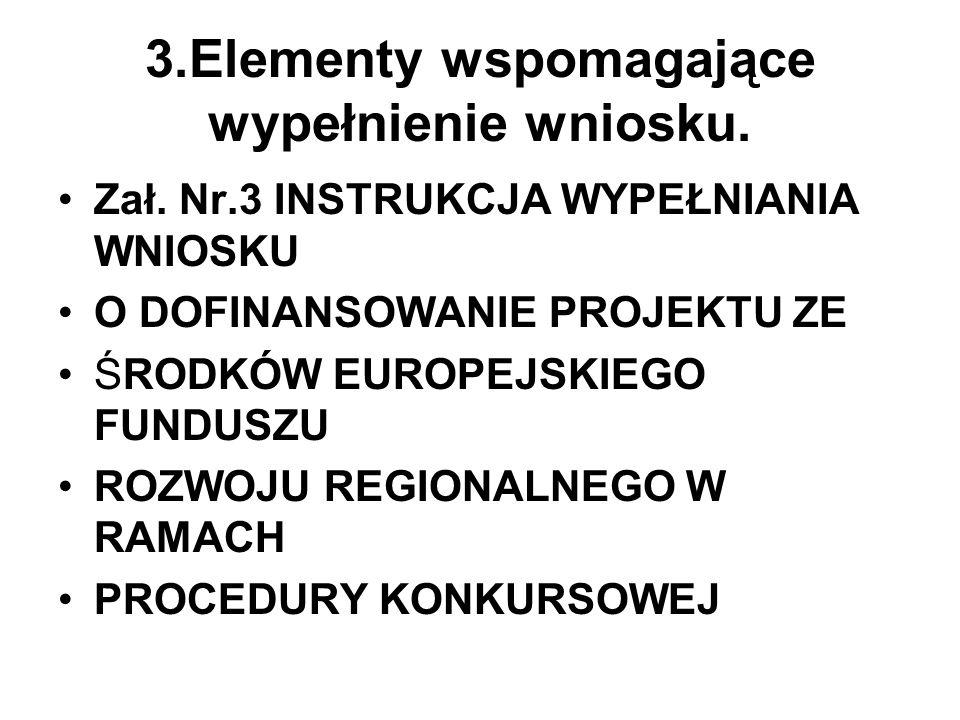 3.Elementy wspomagające wypełnienie wniosku. Zał. Nr.3 INSTRUKCJA WYPEŁNIANIA WNIOSKU O DOFINANSOWANIE PROJEKTU ZE ŚRODKÓW EUROPEJSKIEGO FUNDUSZU ROZW